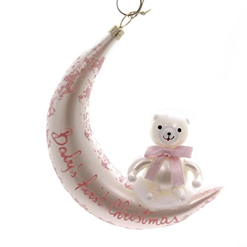 De Carlini BABYS FIRST CHISTMAS PINK Glass Ornament Birth Italian Ba1736m