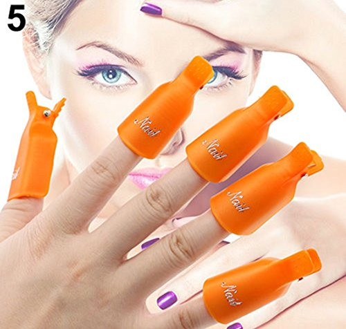 1-Set (10 Pcs) Pride Popular Plastic Nails Art Clip Cap Manicure Stylish DIY Peel Tips Polish Tool Color Orange
