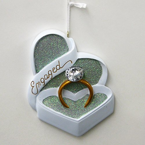 Engaged Heart Shaped Box and Ring with Gem Christmas Ornament