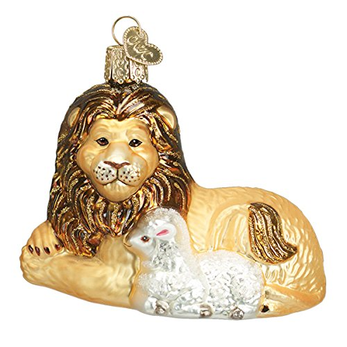 Old World Christmas Lion And Lamb Glass Blown Ornament