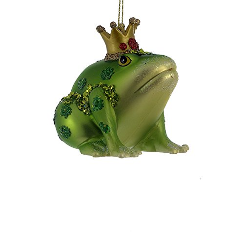 Kurt Adler Glass Frog With Crown Christmas Ornament