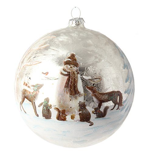 Raz Imports 5″ Glass Snowman & Animals Ornament