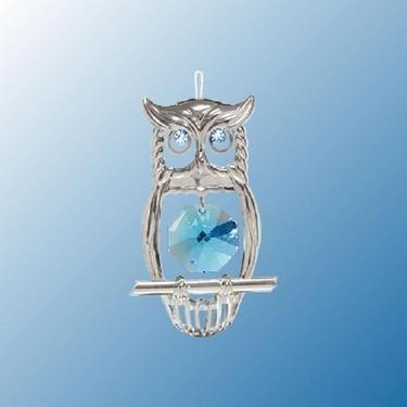 Chrome Owl Ornament – Blue Swarovski Crystal