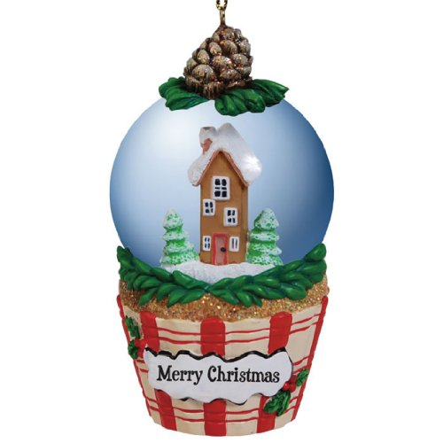 Westland Giftware 45mm Globe Ornament, 3.25-Inch Tall, Merry Christmas Cupcake