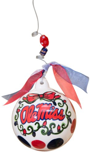 Glory Haus Ole Miss Ball Ornament, 4 by 4-Inch
