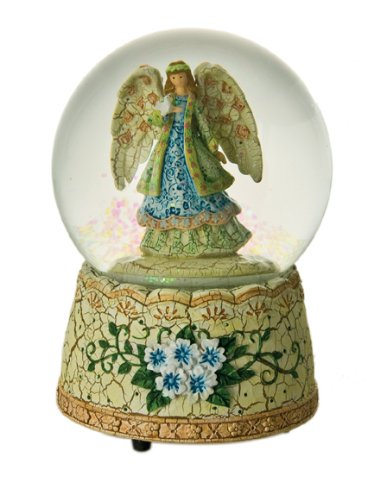 "MusicBox Kingdom 46066 Snow Globe Angel Music Box Playing ""Amazing Grace"""