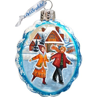 G. Debrekht Fun Skiing Glass Ornament