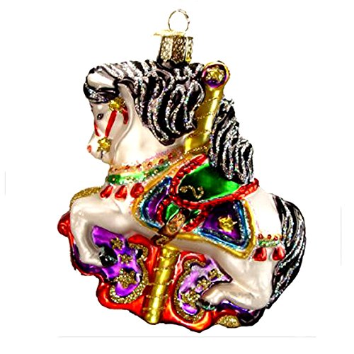 Carousel Horse Black Mane Old World Christmas Ornament