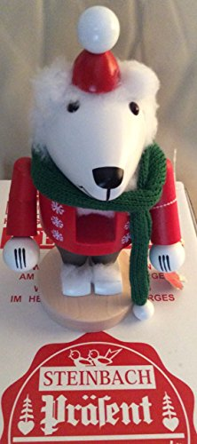 Steinbach White Ice Polar Bear with Hat and Scarf German Wooden Christmas Nutcracker