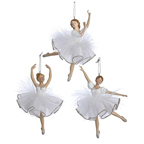 Kurt Adler 1 Set 3 Assorted White And Silver 6 Inch Ballerina Ornaments