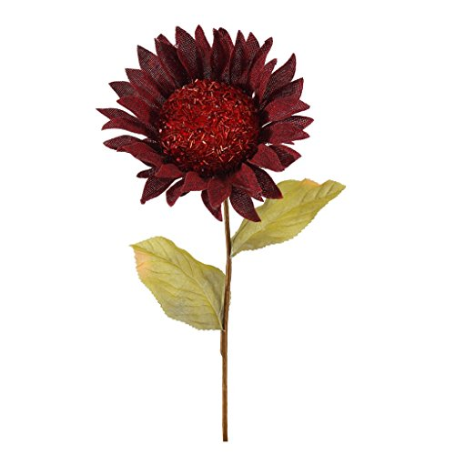 Vickerman 378694 – 22″ Burgundy Burlap Sunflower 7″ Flower Pick (P150805)