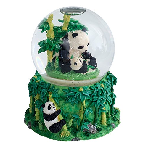 Mommy Panda and Baby Cub 100MM Water Globe Plays Tune Born Free