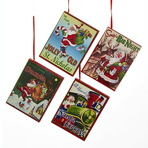 Kurt Adler 1 Set 4 Assorted Wood Inch Retro Christmas Book Ornaments
