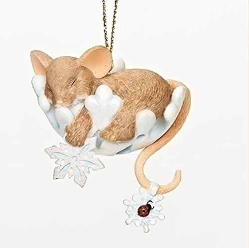 "2.25″ Charming Tails ""Snoozey Snowflake"" Sleeping Mouse Collectible Christmas Ornament"