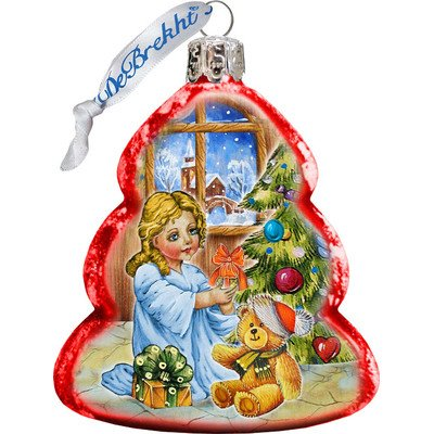 G. Debrekht Nativity Santa Angel Glass Ornament