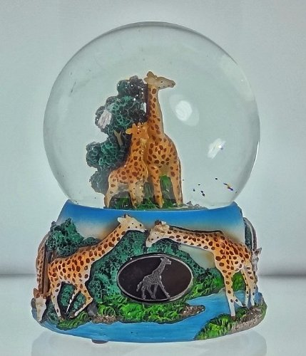 Giraffe Family Snow Globe – Sculptured Resin Water Ball Music Box 5 3/4″ High