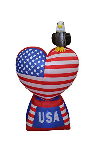 5 Foot Tall Patriotic Independence Day Inflatable Love Heart with American Flag and Eagle Decoration