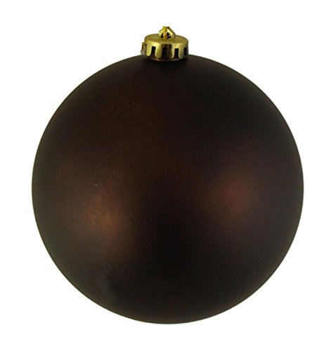 Vickerman Matte Chocolate Brown Commercial Shatterproof Christmas Ball Ornament, 6″