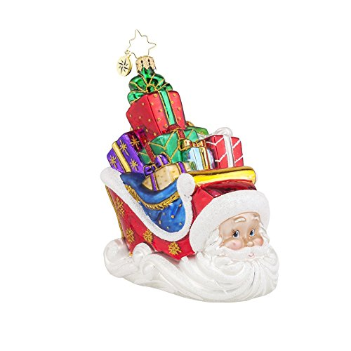 Christopher Radko Sleighing Santa Glass Christmas Ornament – 5.5″h.