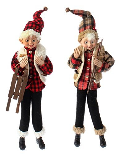 16″ Posable Elf Ornaments – Set of 2