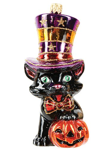 Halloween Black Cat Polish Mouth Blown Glass Ornament Made in Poland Decoration