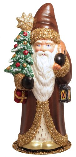 Schaller Brown Coat Lantern Santa German Christmas Paper Mache Candy Container