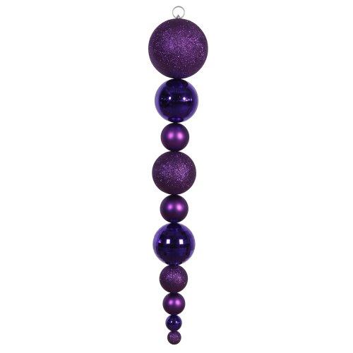 Vickerman Iridescent Shiny, Matte and Glitter Finish Shatterproof Ball Finial Christmas Ornament, 44″, Purple
