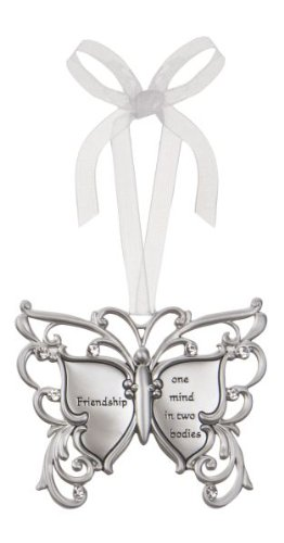 Friendship One Mind In Two Bodies Butterfly Silver & Crystal Filigree Ornament