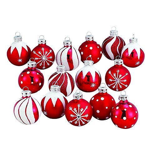 Kurt Adler Medallion Collection Red With White Glitter Decorated Glass Ball Ornaments, Set of 30