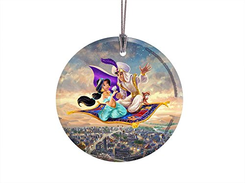 Thomas Kinkade Artwork (Aladdin) StarFire Prints Hanging Glass Ornament – Home and Christmas Tree Decoration