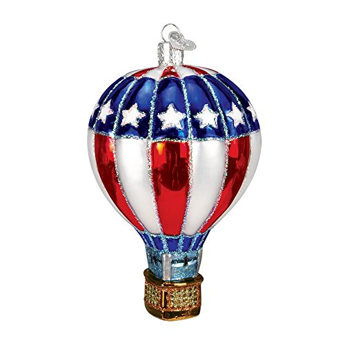 Old World Christmas Glass Blown Hot Air Balloon Patriotic Ornament