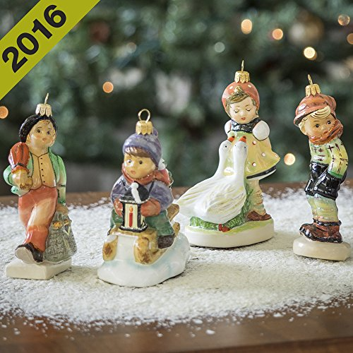 Authentic M.I. Hummel Set of 4 Glass Ornaments