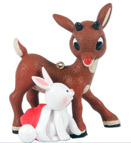 Rudolph the Red Nosed Reindeer with Bunny Christmas Holiday Ornament