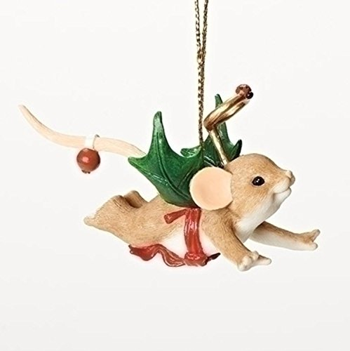 "3.25″ Charming Tails ""My Little Holly-Day Angel"" Mouse with Holly Wings Christmas Ornament"