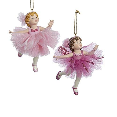 Kurt Adler 1 Set 2 Assorted Pink Little Ballerina Ornaments