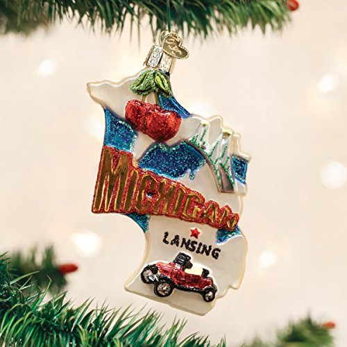 Old World Christmas 36184 State of Michigan Glass Blow Christmas Ornament State of Michigan