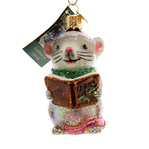 Old World Christmas CAROLING MOUSE Glass Creature Singing Ornament 12427 Grey