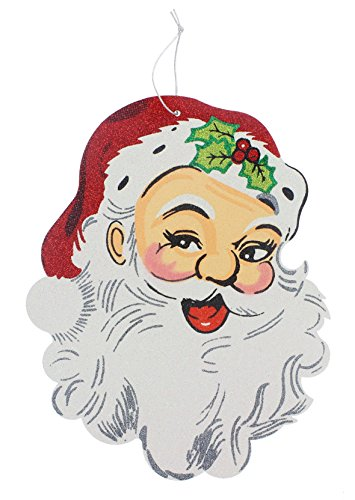 RAZ Imports 12″ Glittered Paper Board Santa Claus Face Ornament Sign