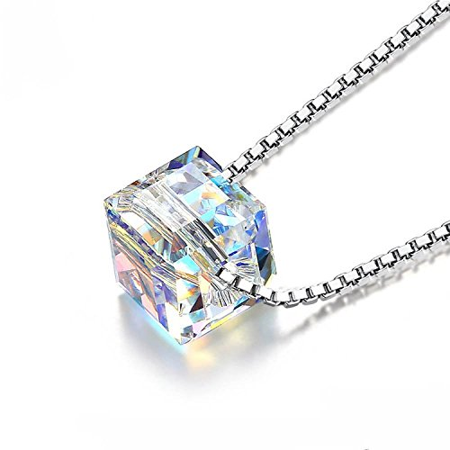 S925 Silver Filled Magic Austrian Crystal Cube Pendant Clavicle Necklace – 8mm