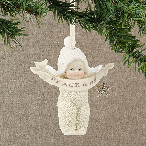 Snowbabies Peace To All Baby Holding Banner Porcelain Christmas Ornament 4039684