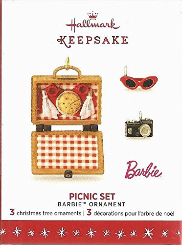 2016 Hallmark Keepsake Ornament Limited Edition – Picnic Set -3 Mini Barbie Ornaments