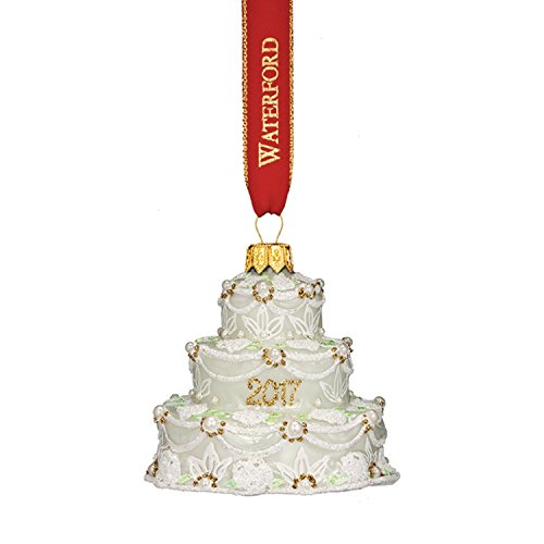 Waterford Holiday Heirloom 2017 Our First Wedding Cake Glass Christmas Ornament – 3.3″H.
