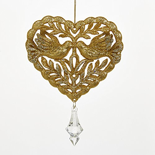 Kurt Adler Gold Heart With Dove Couple Christmas Tree Ornaments