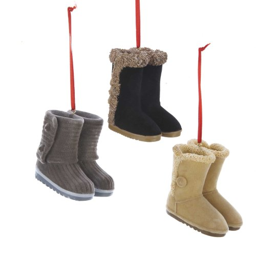 Kurt Adler 2.5″ Resin Flocked Boots Ornament Set of 3