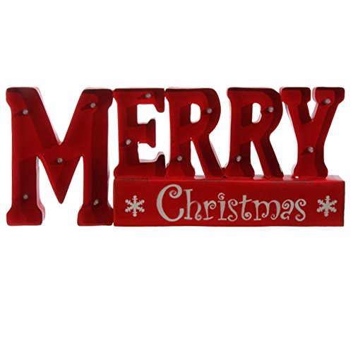 Merry Christmas LED Lighted Metal Red Christmas Sign, 19 X 8 Inch, Battery Operated