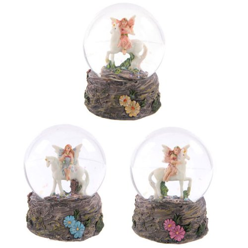 Flower Fairy Riding Unicorn Snow Globe Waterball by lotusandlime