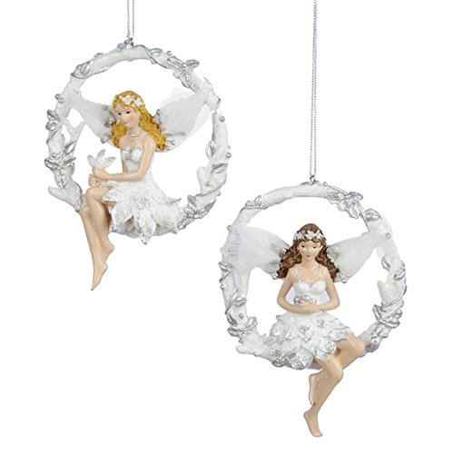 Kurt Adler 5″ Resin Silver & White Fairy Ornament 2/asstd