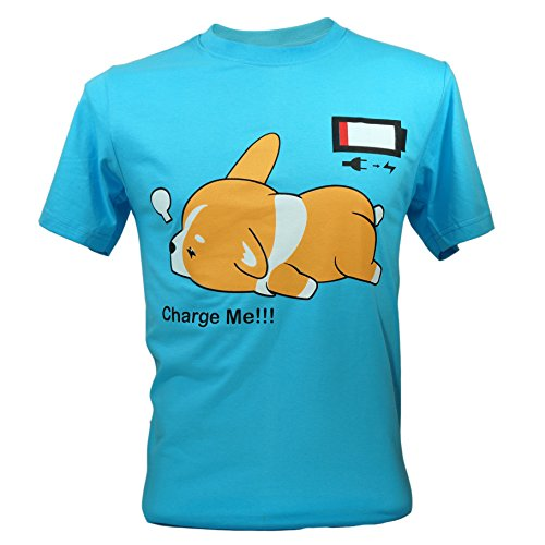 Immortal Unisex Corgi Cute Puppy Low Battery Funny T-shirt Large Blue