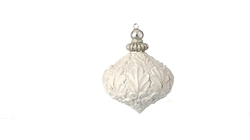 2.75″ White Antique-Style Acanthus Leaf Glittered Onion Christmas Ornament