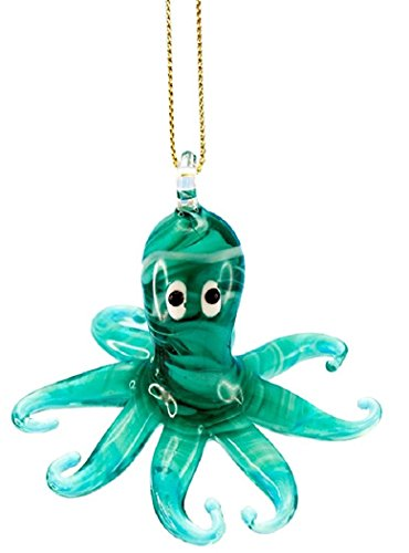 Glass Octopus Hanging Ornament (Teal)